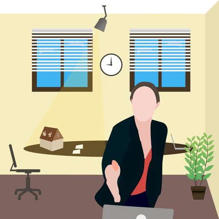 agency agreement: business girl reached out in agreement as successful real estate agency office Illustration
