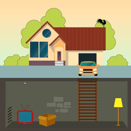 basement: traditional family house. modern house with basement. A car and a garage. Flat design vector concept illustration. Illustration