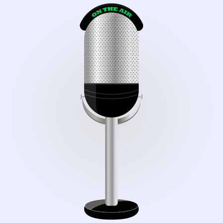old microphone: microphone on the leg. proffessional microphone. vector. can be used as an icon.