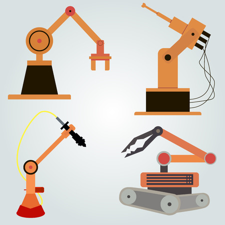 cnc: Robotic arm, robot in the line of the plant. CNC, set of robots. Illustration