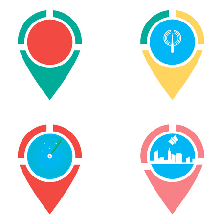 locator: Icons set of locations. checkpoint. locator design vector template. Gps icon design vector. Simple clean design Gps locator vector icon. Illustration