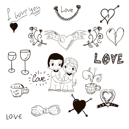 girl love: love the elements drawn by hand. hearts, arrows, cups, curls, a boy and a girl. love. vector illustration. sketch.