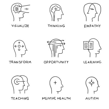 mente humana: Iconos de comunicación establecen con elementos de diseño de planos de proceso de la mente humana, dibujo a mano. iconos, iconos. la gente de pensamiento del cerebro, problemas de salud mental y el autismo. vector Vectores