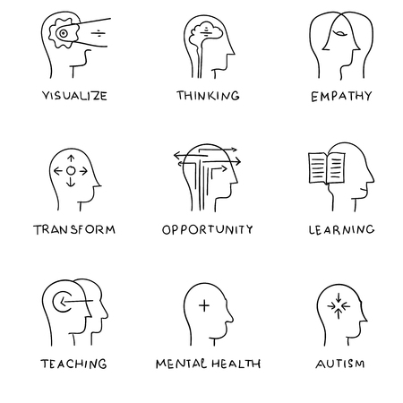 mind set: Line icons set with flat design elements of human mind process, hand drawing. icons, icons. people brain thinking, mental health and autism problem. vector Illustration