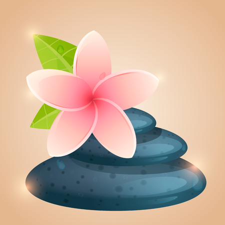 revitalize: flowers and stones for Spa. template for flyers, leaflets, stickers and signs. Close up view of spa theme objects on background. vector illustration