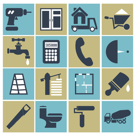 handsaw: Web icon set - building, construction and home repair tools. vector illustration. screwdriver, box, wheelbarrow, handsaw, calculator, crane, ladder, layout, cargo truck.