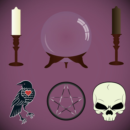 scrying: set of tools fortune-tellers, witches. scrying Orb, white and black candle, Raven, magic symbol, the skull. Illustration