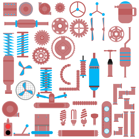 propellers: Set of parts of machinery. Industrial Vector Items. Gears, fittings, flanges, levers, propellers, housings, brackets, buttons, switches, knobs, lamps and other.