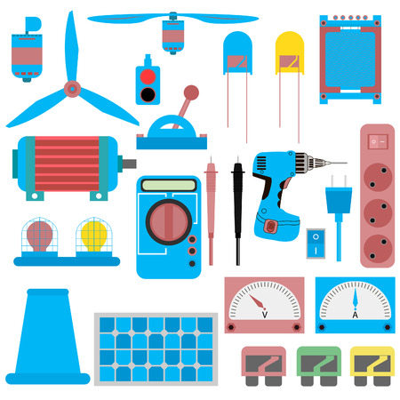 electrical parts: a set of electrical parts, appliances, electric motor, led, solar panels, fuses, plug and receptacle, switch, light, vibrator, transformer and more. vector illustration