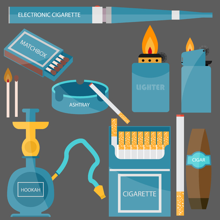 e cigarette: set for Smoking. cigarette, cigar, ashtray, lighter, hookah, cigarettes, electronic cigarette and more