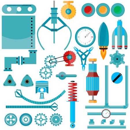 maquinaria: Conjunto de piezas de maquinaria. vector, diseño plano, piezas de la máquina en la maquinaria de segunda mano, engranajes, bombillas, partes de cohetes, láminas de metal, herramientas, motor eléctrico y mucho más. Vectores