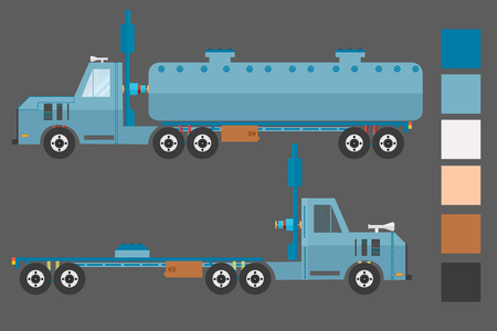 empty tank: truck with the barrel, the tank and the empty truck on a gray background, with the main colors. vector illustration.