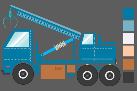 Truck, fire engine, a ladder truck, a car with a hook. on a gray background, with the main colors. vector illustration.