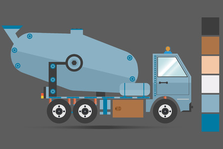 トラック、コンクリート ミキサー、ベクトル、ダークグレー。アイコン。主要な色。