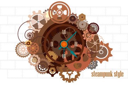 Steampunk Uhr mit Getriebe Industriemaschinenketten und technische Elemente Vektor-Illustration Standard-Bild - 50424199