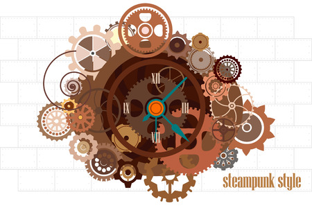 Steampunk watch with gears industrial machine chains and technical elements vector illustration