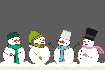 Set of different Christmas Snowman. Snowman hat, snowman with a bucket on his head, snowman mittens, snowman in scarf. vector illustration