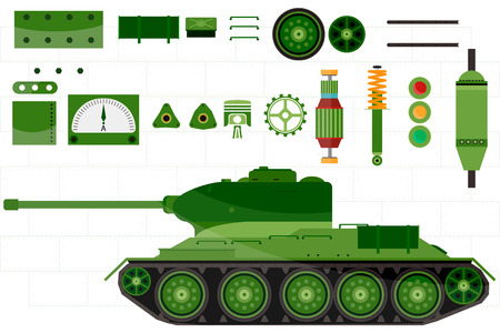 spare: Tank spare and parts tank. parts of machinery, gun, armour, caterpillar, shock absorber, sensor, bulb, piston and more vector illustration.