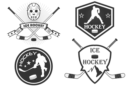 hockey equipment: Hockey  . a set of sports   with hockey. vector. command stripe. stick, hockey player, puck, skates. mountains. ice hockey