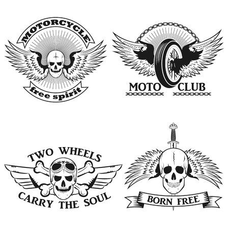 moto: Moto logo. biker stripe.Skull with wings motorcycle wheel, skull and bones biker tattoo.