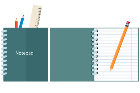 open notebook: notebook, closed notebook with pencil and a ruler. open, detailed notebook. a simple pencil. vector. Illustration