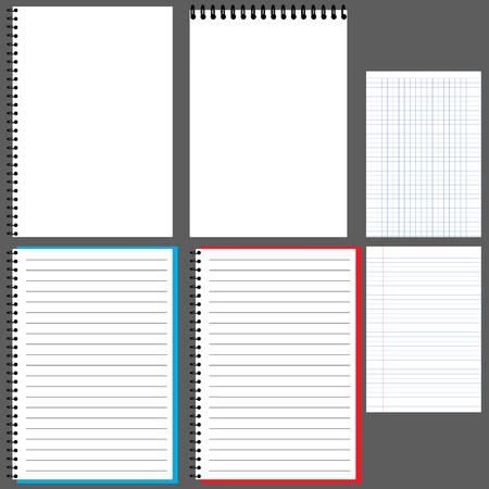 Notepad, album, notebook met veer, horizontaal, Notepad, Notepad, verticale open Notepad, in Kladblok lijn Notepad in een cage.vector Vector Illustratie