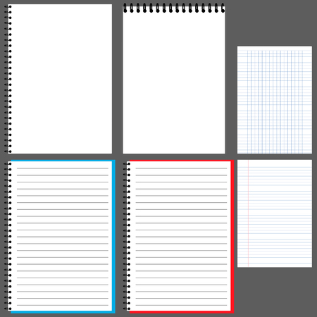 Notepad, Album, Notizbuch mit Feder, horizontal, Notizblock, Notizblock, vertikal, Notepad öffnen, in dem Editor Notepad Zeile in einem cage.vector Vektorgrafik