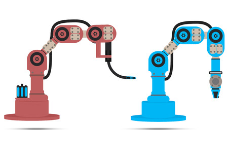 cnc: robot. robotic hands. vector. machines used in production. Illustration