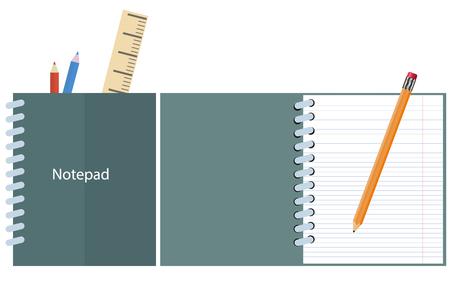 open notebook: set Notepad, notebook. open notebook, pencils, ruler. vector