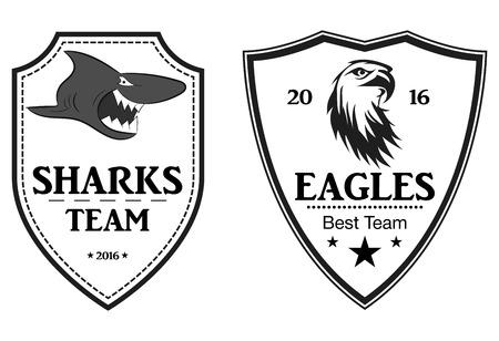 Sharks and Eagles Sports logo.command emblem. vector Vettoriali