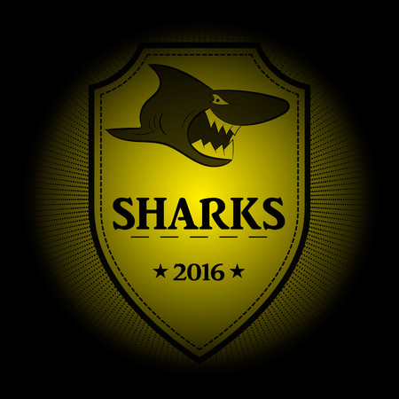 surf team: Sharks! Sports logo. the emblem appearing out of the darkness. Perfect on your black shirt! vector