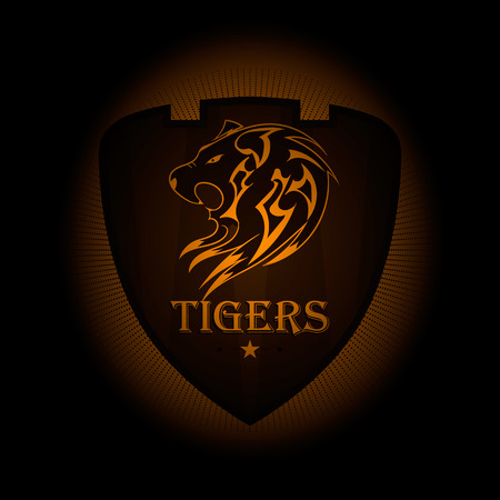 black shirt: Tiger a sports  . the emblem appearing out of the darkness. Perfect on your black shirt! vector