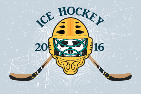 goalie: For hockey team - Goalie mask crossed hockey sticks, vintage ribbon. Texture on separate layers.Text grouped separately and can be removed. vector Illustration