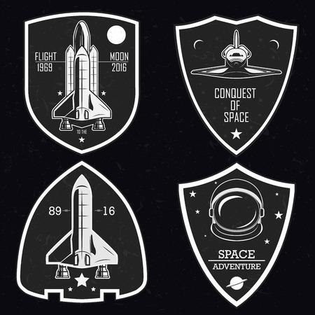 Set of vintage space, emblems, logos and labels