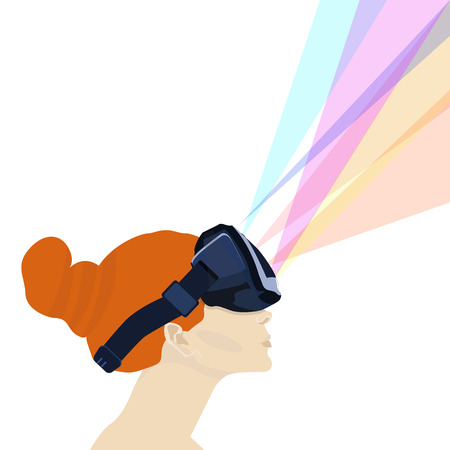 redhead girl: redhead girl with glasses virtual reality.illustration. Illustration
