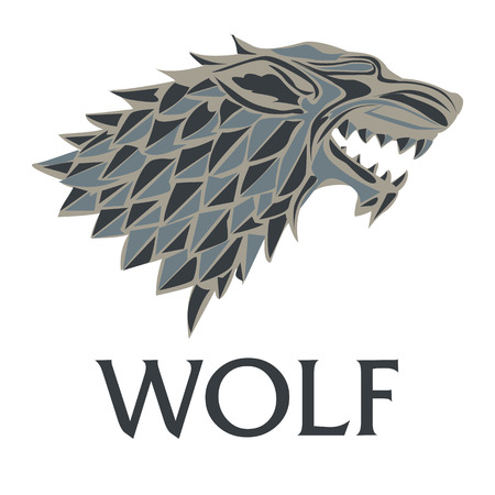 wolf head on a white background. illustration.