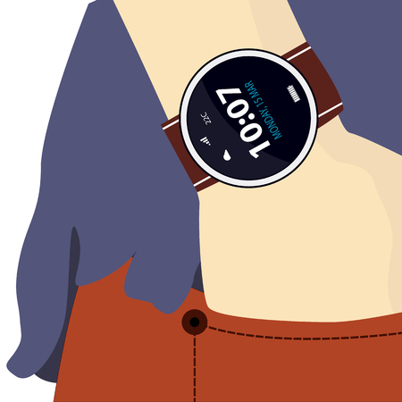 jeans pocket: smart watches on the hand, the hand in jeans pocket