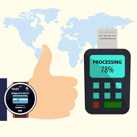 contactless: payment with smart watches.mobile payments. Illustration