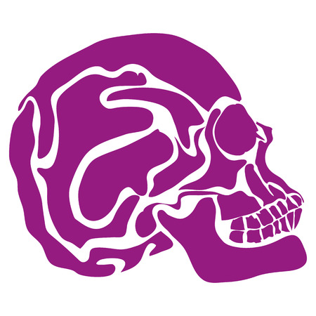 stylized human skull in profile. the drawing hands. made in one color which allows the use of laser cutting