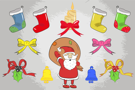 elements for greeting cards and for your projects. badges, merry Christmas, sock, candle, bell, gift, candy. drawing hand. Illustration