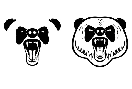 growling: Head of growling panda. Tattoo in two versions - a simple and detailed. Layered vector illustration