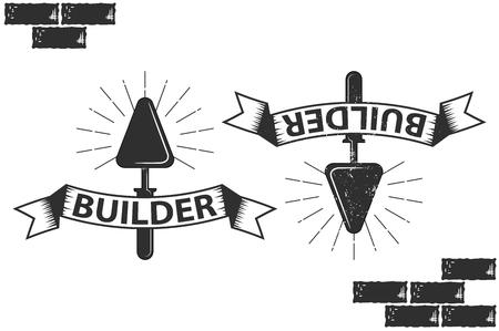Vintage, retro emblem. build, trowel for laying bricks Illustration
