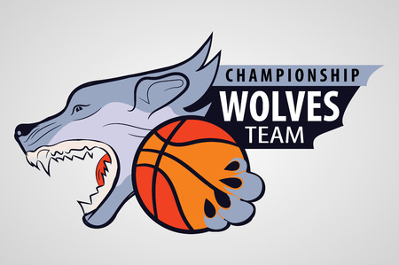 command: wolf head with the ball in his paws. sporting the emblem. The command icon.symbol of the basketball team Illustration