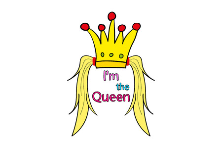 tails of hair sticking out from the crown. Im the Queen. Hand lettering. Vector printable poster with phrase.Design for clothing and cards. funny pictures.