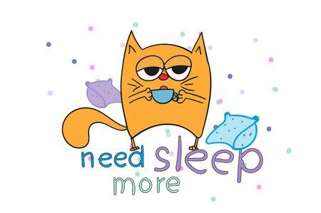 sleepy red cat. Doodles. Need sleep more