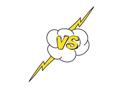 Esquema amarillo versus signo como oposición. concepto de confrontación, juntos, enfrentamiento, lucha final.