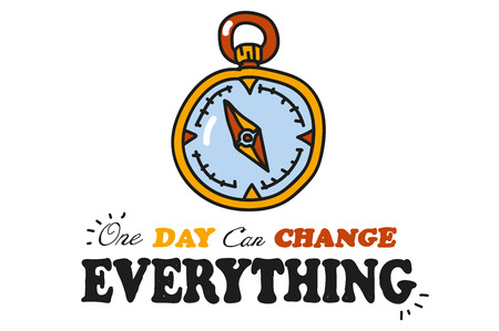 One day can change everything. Compass. statuses for social networking with the picture. the drawing hands. Doodle. funny pictures for shirts.