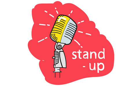a professional microphone. stand - up. the red background. hand drawing.