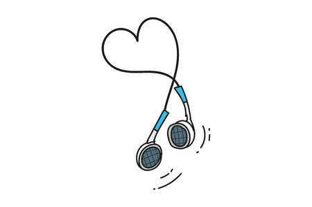 headphones from the phone or player. hand drawing. heart of the wires.