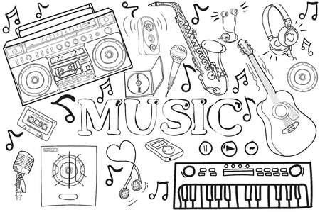 crotchets: black white drawing. Doodle. vector set of elements for music. guitars, drums, microphones Illustration
